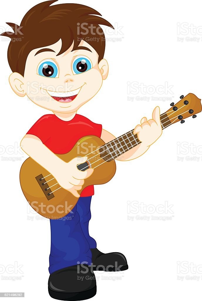 Cute Boy Playing Guitar Stock Illustration - Download ...