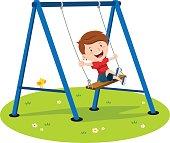 Vector illustration of a little boy having fun on the swing.