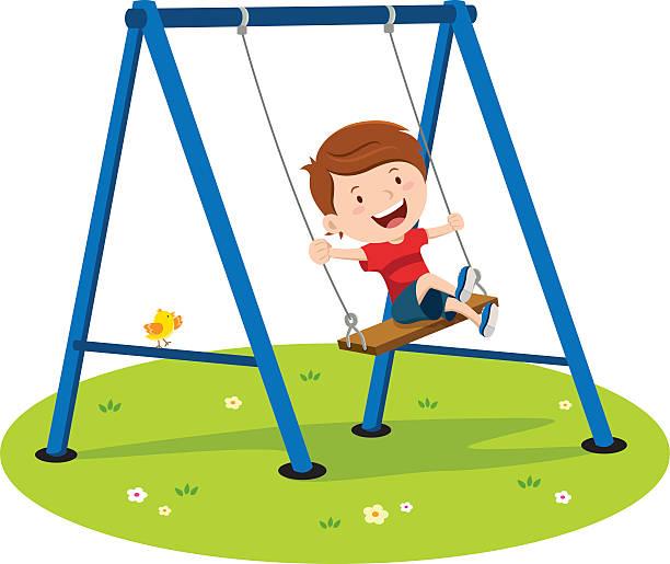 ilustrações de stock, clip art, desenhos animados e ícones de cute boy playing on swing - balouço