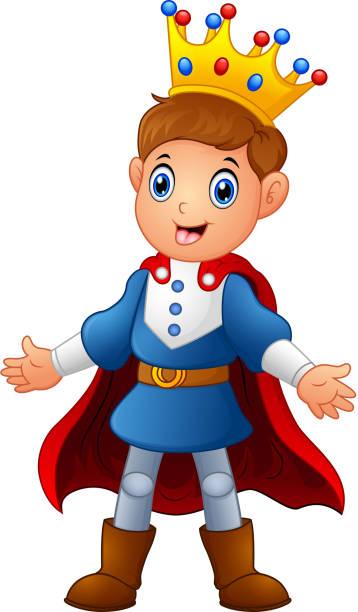 cute boy prince with red cloak - prince stock-grafiken, -clipart, -cartoons und -symbole