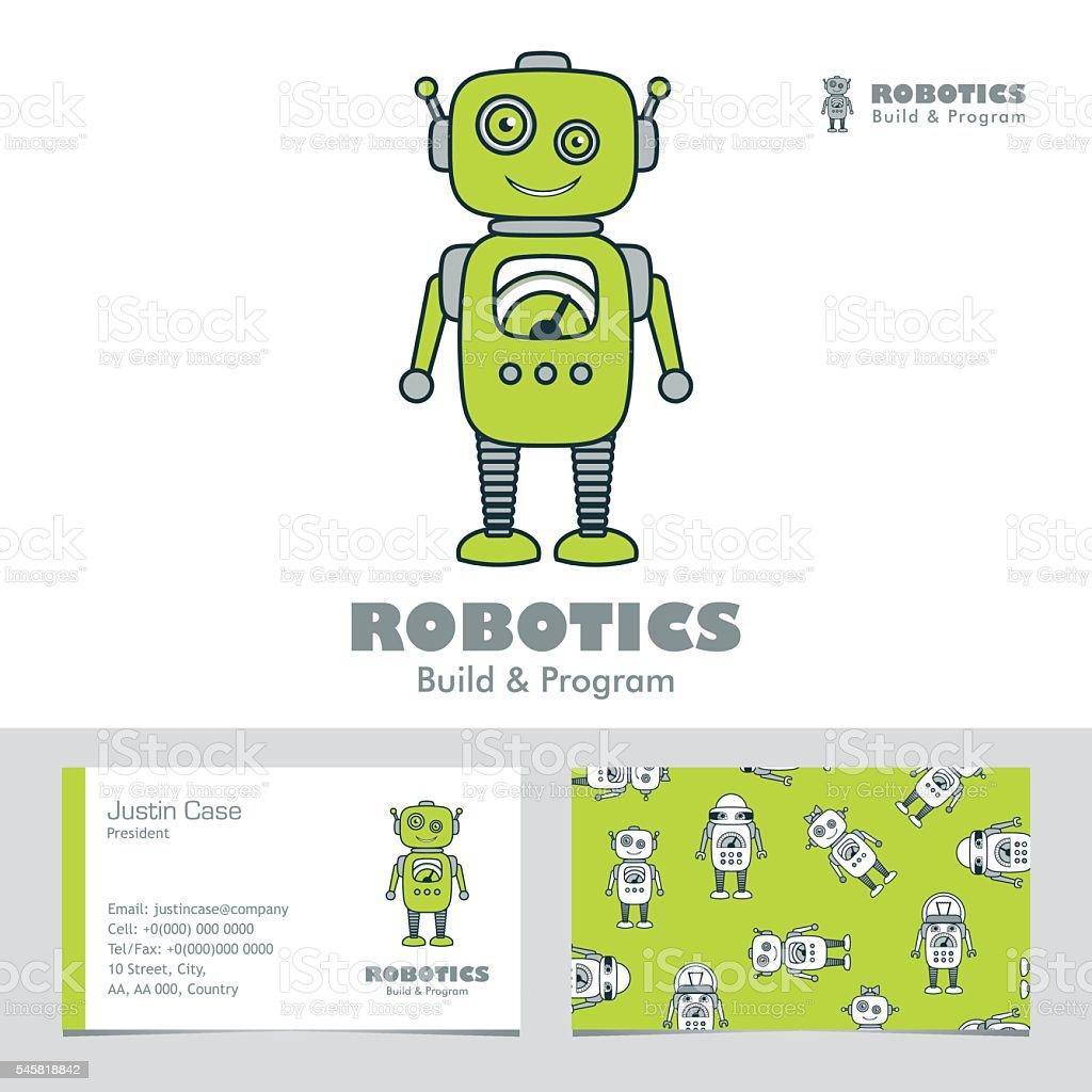 Cute Boy Robot Cartoon Character Logo Template Business Card Stock