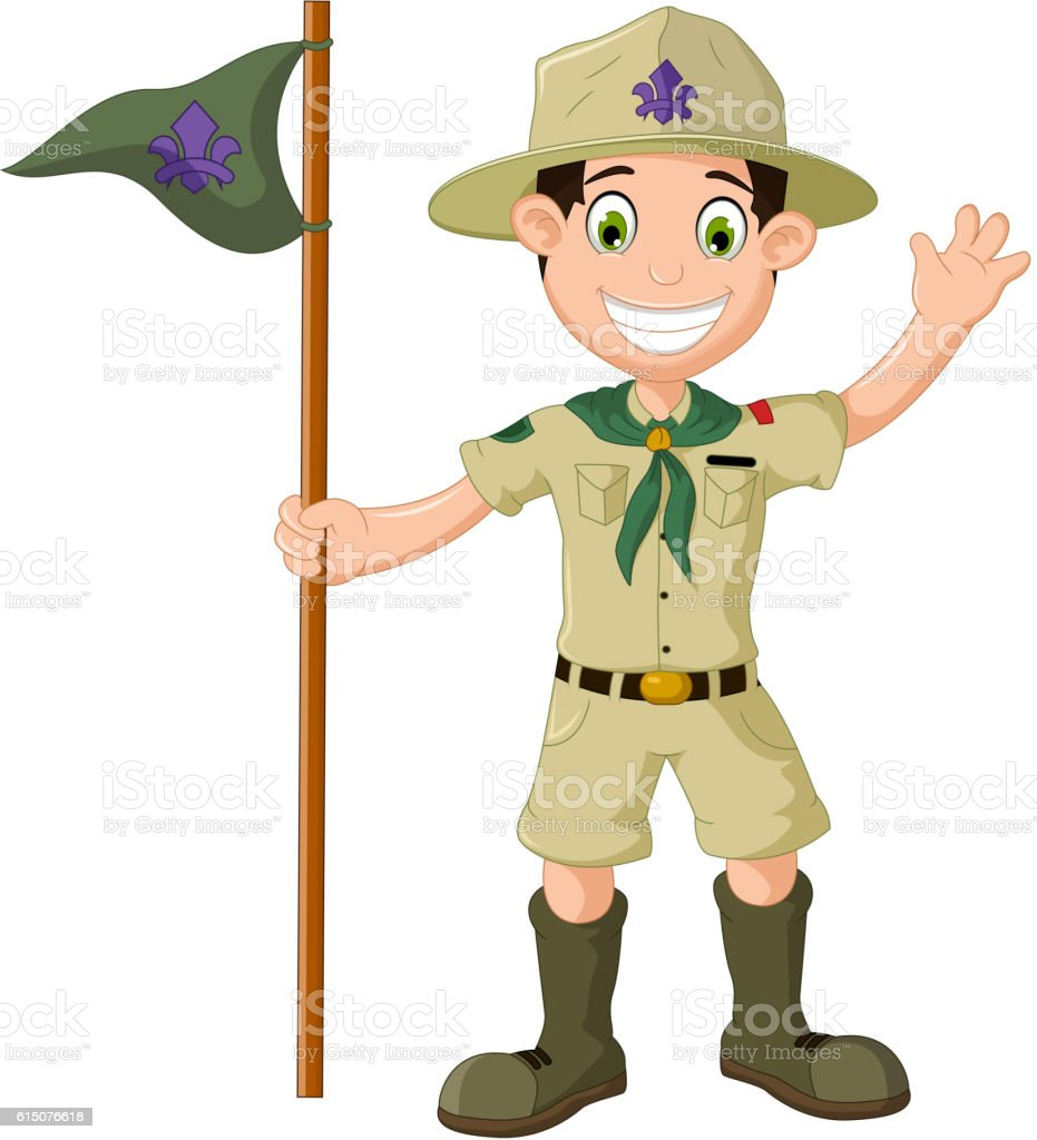 cute boy scout cartoon holding pole yelling vector art illustration