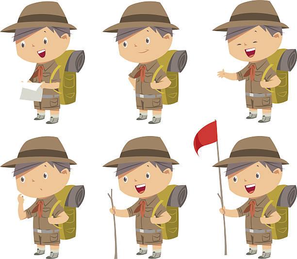 Cute boy scout vector art illustration