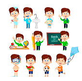 Boy cartoon character. Cute boy, set of eleven poses. Funny cartoon character. Vector illustration.