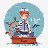 Cute boy sitting on a suitcase and playing with toy sailing boat. Travel vector concept