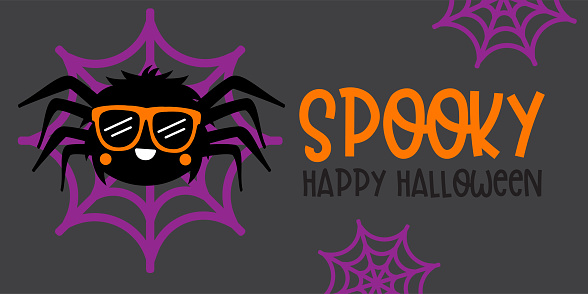 Cute Boy Spider With Orange glasses - Halloween hand drawn on t-shirt design, greeting card or poster design Background Vector Illustration.