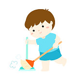 Cute boy sweeping the dust on a white background vector.