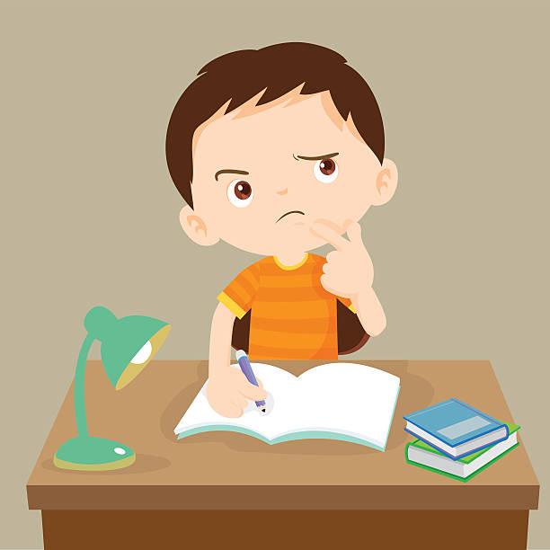 cute boy thinking working on homework - homework stock illustrations