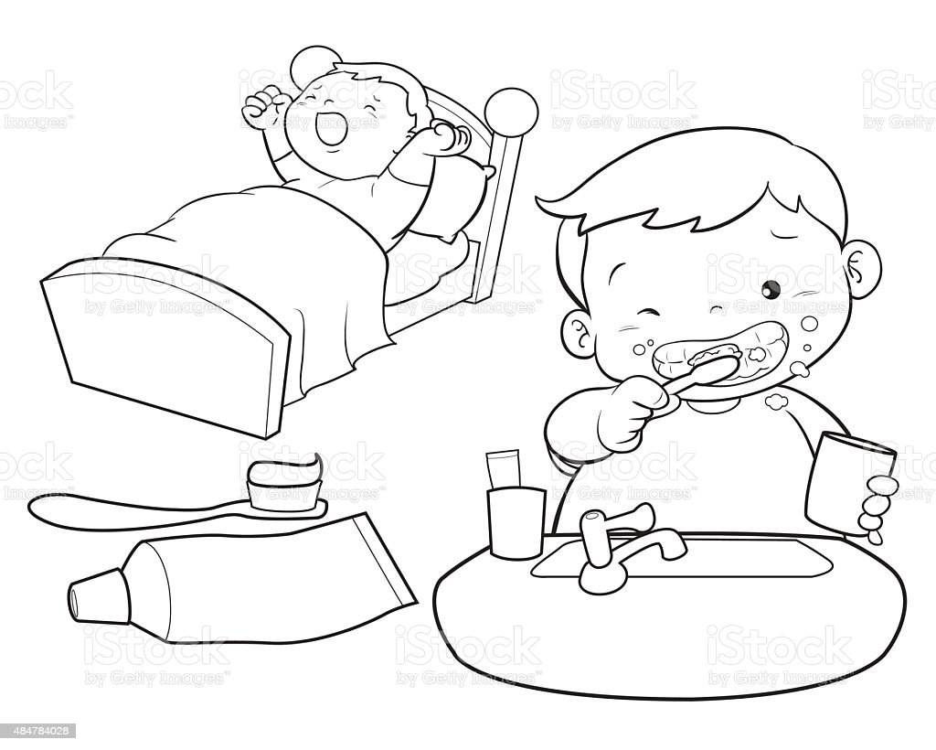 Cute Boy Wakeup Line Art Stock Vector Art & More Images of ...