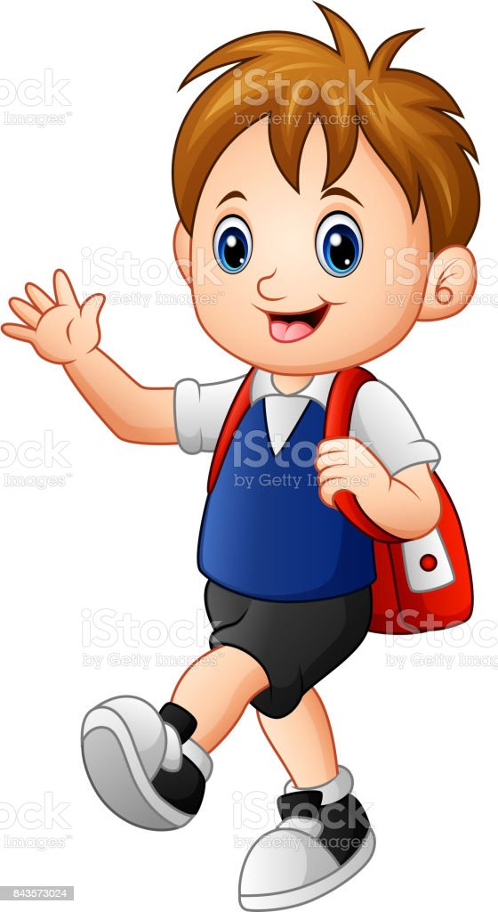 Cute boy walking to school with a backpack vector art illustration