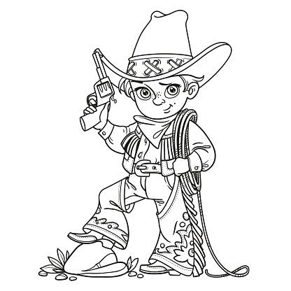 Cute boy with a gun holds the lasso outlined