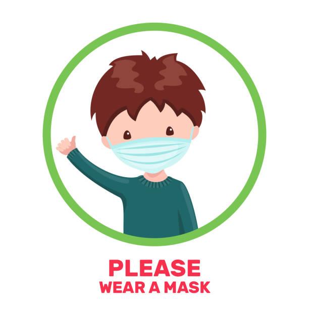 ilustrações de stock, clip art, desenhos animados e ícones de cute boy with medical mask in cartoon style isolated on white background. - covid hair
