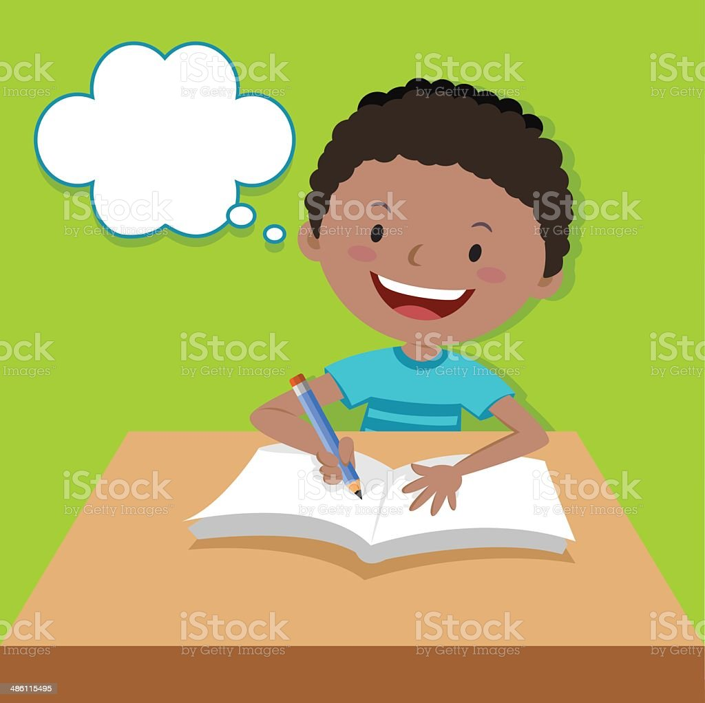 Cute boy writing and thinking vector art illustration
