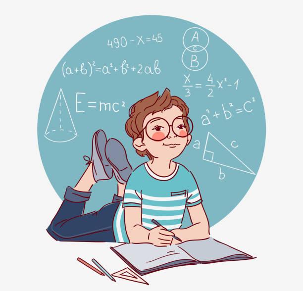 ilustraciones, imágenes clip art, dibujos animados e iconos de stock de chico lindo escribir en el cuaderno. niño resuelve ejemplos matemáticos - vector - clase de matemática