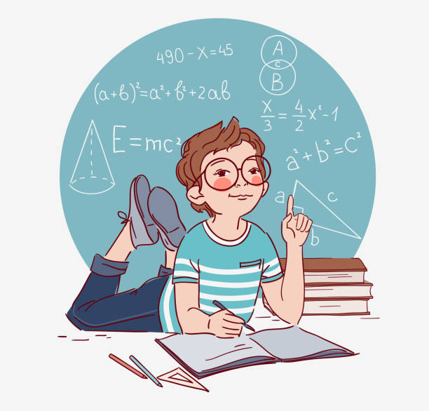 cute boy writing in notebook. little boy solves mathematical examples - homework stock illustrations