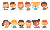 Vector Cute boys and girls collection. Multi-ethnic group of happy children. Different cartoon faces icons