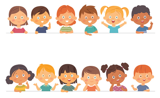 Cute boys and girls collection. Multi-ethnic group of happy children. Different cartoon faces icons