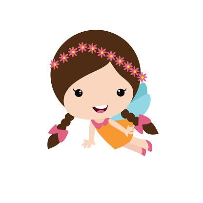 cute braided little fairy girls wearing flower headdress, cartoon character