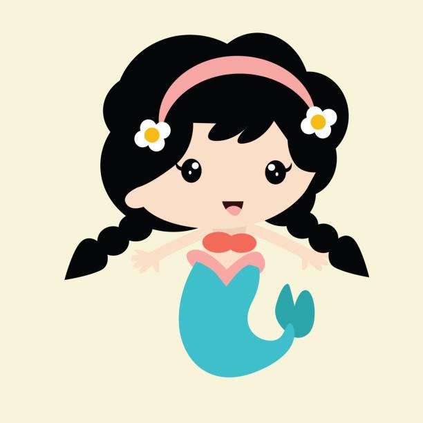 ilustraciones, imágenes clip art, dibujos animados e iconos de stock de linda trenza sirena niñas con tocado de flor, personaje de dibujos animados - cabello negro