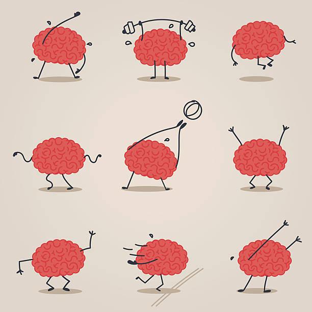 ilustrações de stock, clip art, desenhos animados e ícones de fofo cérebro carácter - active brain