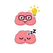 Cute brain idea icon