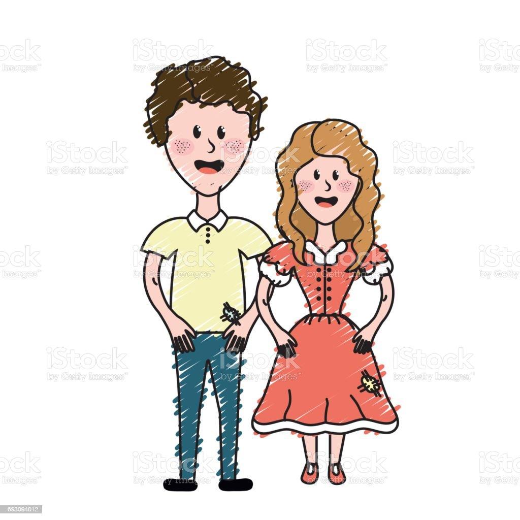 典型的な服と髪型かわいいブラジルのカップル のイラスト素材