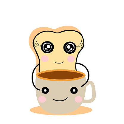 cute  bread and  coffee cup    cartoon  design  for art and print  vector eps.10