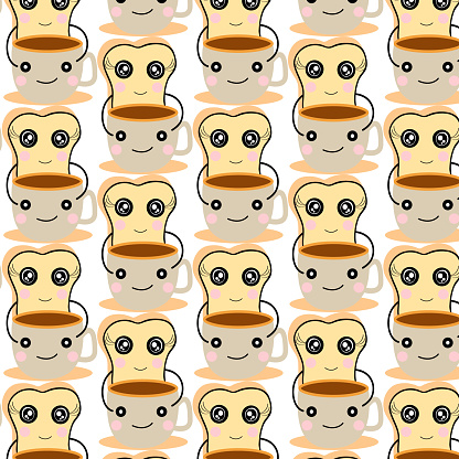 cute  bread and  coffee cup  pattern   cartoon  design  for art and print  vector eps.10