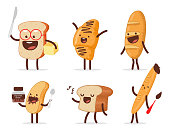 Cute bread characters vector cartoon set.