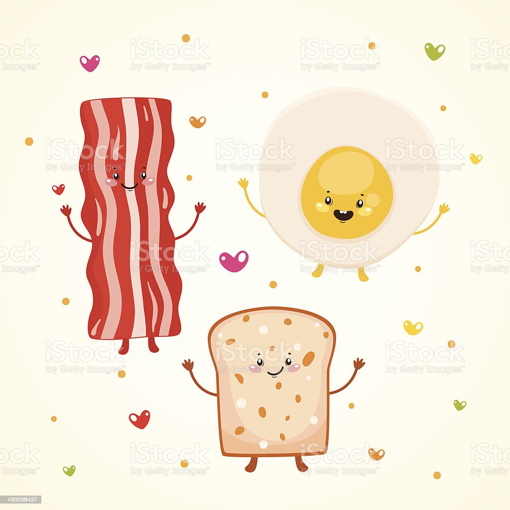Cute breakfast bacon, fried egg, toast vector art illustration