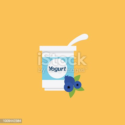 Flat Design Style Breakfast Food Icon - Blueberry Yogurt