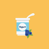 Cute Breakfast Food Icon - Blueberry Yogurt