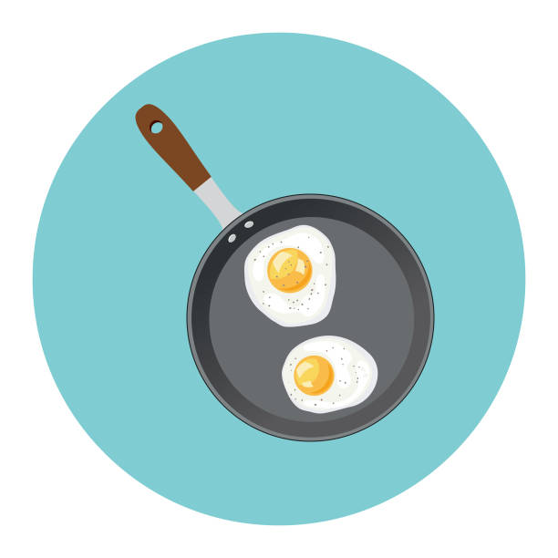 Cute Breakfast Food Icon - Frying pan With Eggs Flat Design Style Breakfast Food Icon - Frying pan With Eggs frying pan stock illustrations