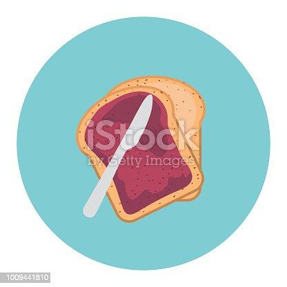 Flat Design Style Breakfast Food Icon - Jam On Toast