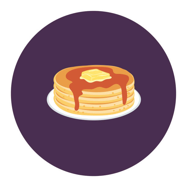 Cute Breakfast Food Icon - Pancakes Flat Design Style Breakfast Food Icon - Pancakes pancake stock illustrations