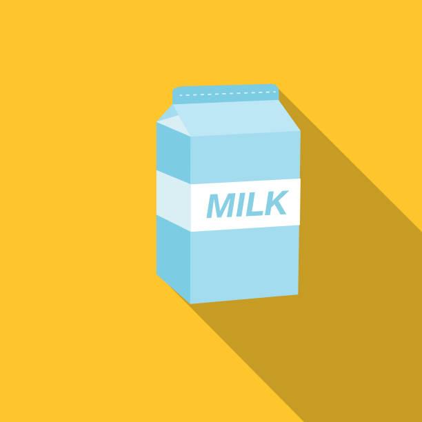 Cute Breakfast Food Icons - Carton Of Milk vector art illustration