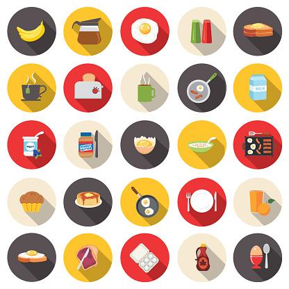 Cute Breakfast Food Icons Set