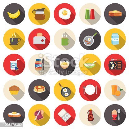 Flat Design Style Breakfast Food Icons Set