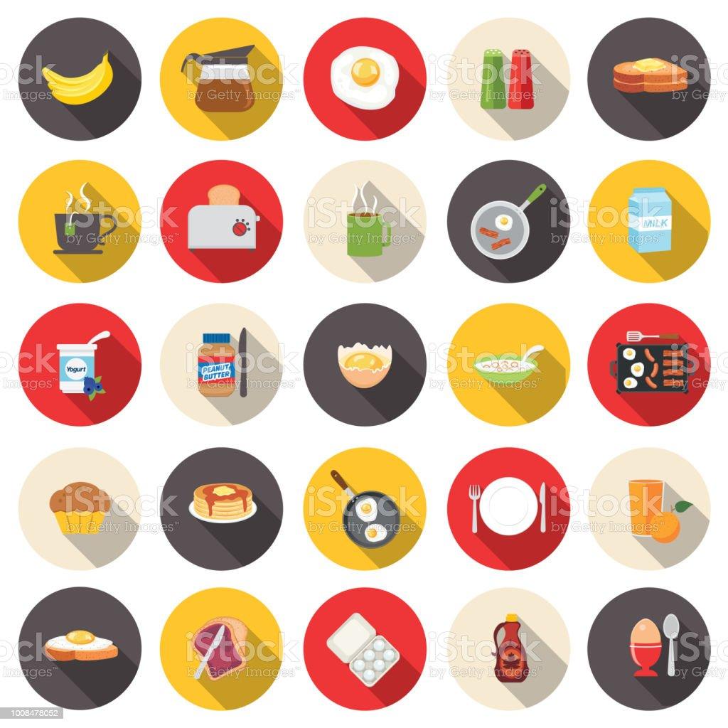 Cute Breakfast Food Icons Set vector art illustration
