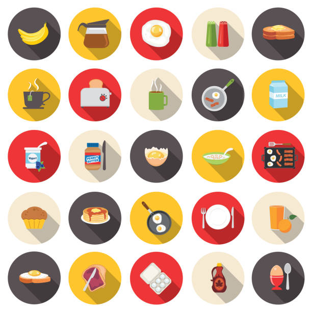Cute Breakfast Food Icons Set Flat Design Style Breakfast Food Icons Set maple syrup stock illustrations