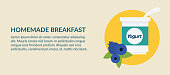 Flat Design Style Breakfast Foods banner in clean flat colors.
