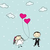 Cartoon illustration of a cute bride and groom holding a shaped heart balloon