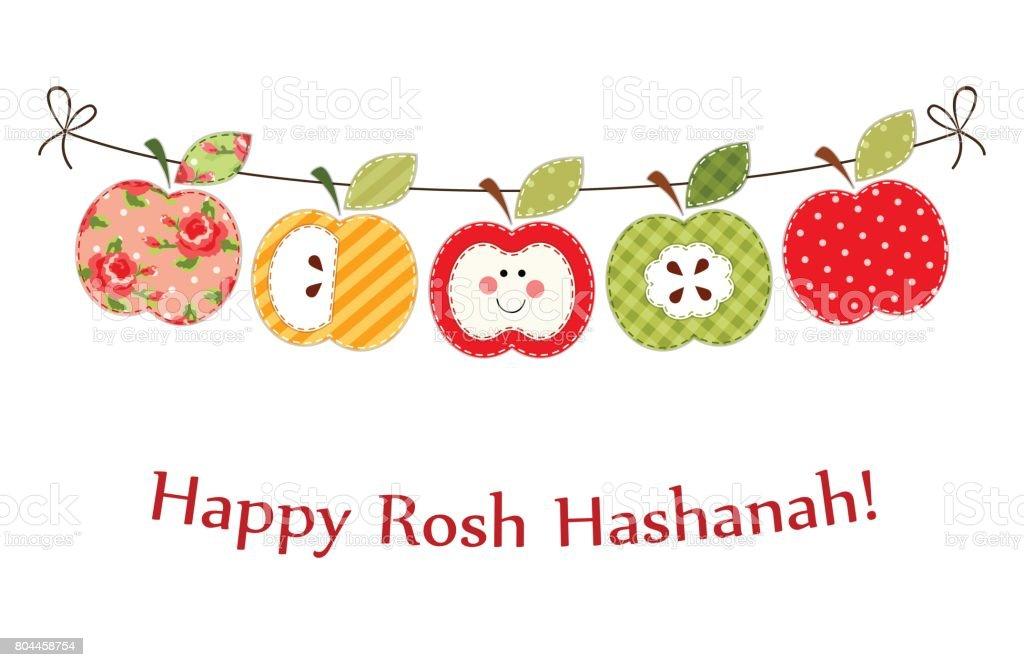 Cute bright apples garland as Rosh Hashanah Jewish New Year symbols vector art illustration