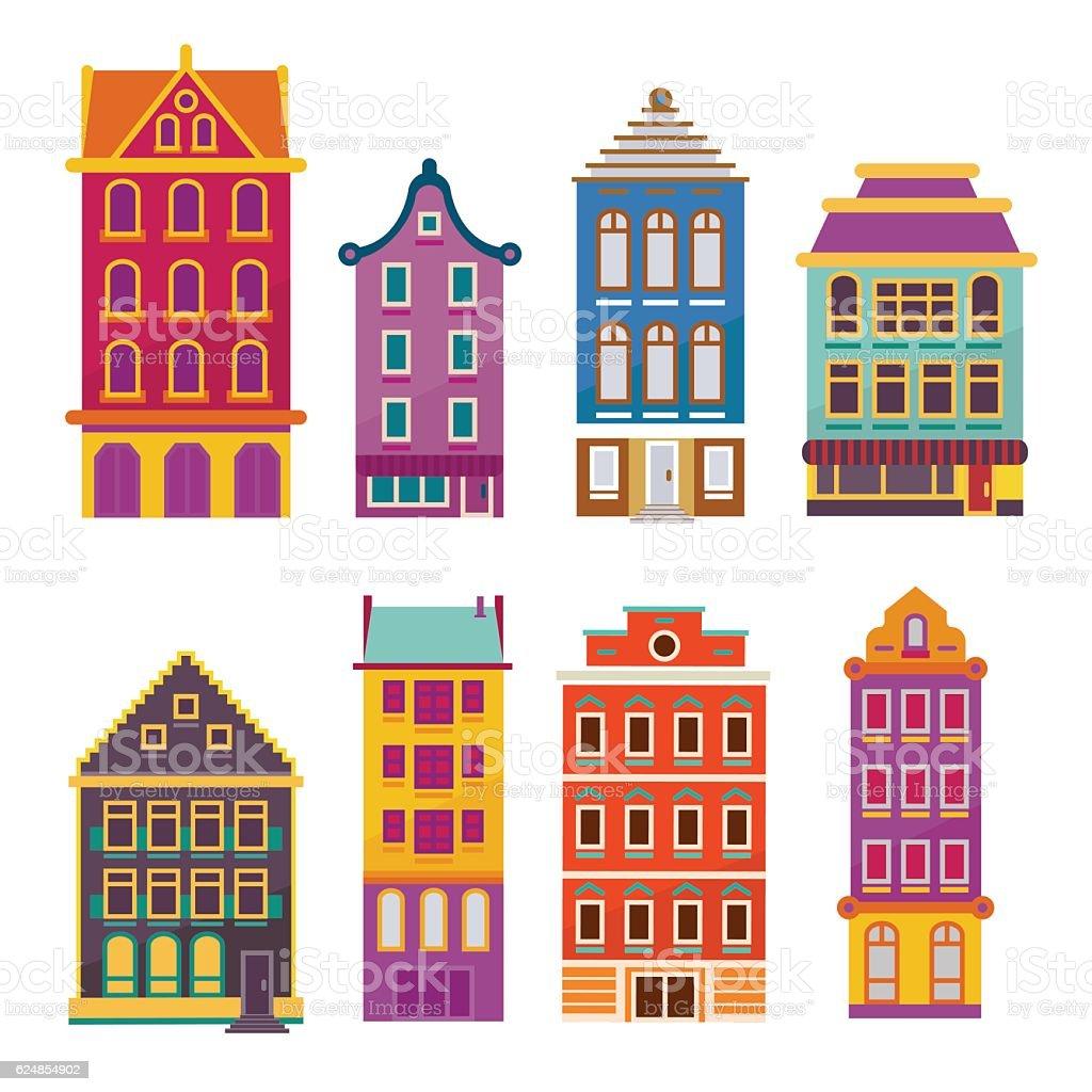Cute bright cartoon flat house set. Vector bildings facades vector art illustration
