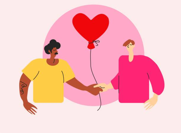 Cute bright illustration of queer gay couple on St Valentine's Day. Interracial LGBT men in love with red heart air balloon. Young boyfriends together on special day on greeting card young homosexual men on All Lover's Day african american valentine stock illustrations