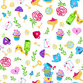 Cute bright multicolor seamless pattern with key, clock, roses on white background. Alice in Wonderland background for fabric, wrapping, wallpaper. Decorative print. Vector illustration