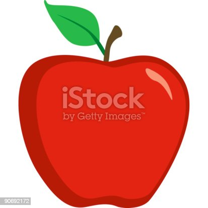 istock Cute Bright Red Apple Icon Isolated on White 90692172