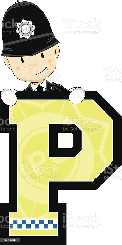 Cute British Policeman Letter P royalty-free stock vector art