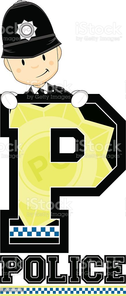 Cute British Policeman Letter P royalty-free cute british policeman letter p stock vector art & more images of adult