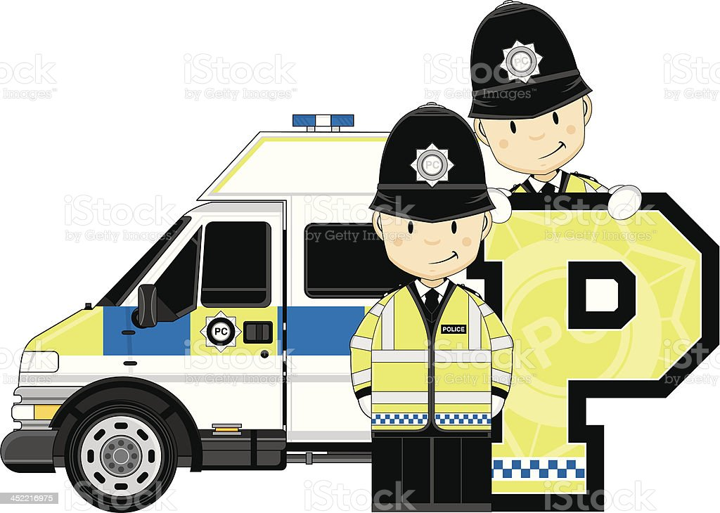 Cute British Policemen Letter P royalty-free stock vector art